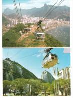 Brasil - Rio De Janeiro - 2 Cards - Seilbahn - CABLE CAR  - Téléphérique - Aerial Tramway - Gondel - Funicular Railway