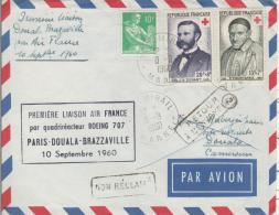 PARIS  DOUALA Brazzaville Air France Première Liaison Par Quadriréacteur Boeing 707  10/09/60 - Marcophilie (Lettres)