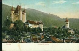 Litho Thun Kanton Bern Schloss Und Kirche Häuser Col. 5.8.1909 Nach Marburg - BE Berne