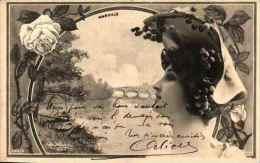 Artiste Femme 1900 Reutlinger - Marville (sip 929-2) Paysage Raisins - Artistes