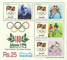 PAKISTAN 1996 MNH MS SHEET OLYMPIC GAMES, ATLANTA, FATHER OF MODERN OLYMPICS, PAKISTAN