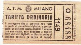 MILANO  /  Biglietto Per Autobus - Autobus