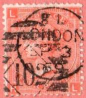 "GB SC #43  1865 QUEEN VICTORIA PLT#11 W/CDS ""LONDON / SP 3 69"" + ""102"" IN DIAMOND, CV $72.50 - 1840-1901 (Victoria)"