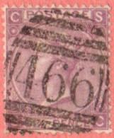 """GB SC #45a  1865 QUEEN VICTORIA PLT 6  """"466""""  W/PULLED PERF @ BR + NIBBED PERFS @ LL, CV $190.00 - 1840-1901 (Victoria)"""