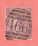 """GBR SC #45a  1865 QUEEN VICTORIA PLT 6  """"466""""  W/PULLED PERF @ BR + NIBBED PERFS @ LL, CV $190.00 - 1840-1901 (Victoria)"""