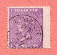 """GB SC #51 U 1869 QUEEN VICTORIA PLT#9  W/CDS """"LIME ST. LIVER[POOL] / 2 AP 72"""", CV $90.00 - Used Stamps"""