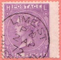 "GB SC #51 U 1869 QUEEN VICTORIA PLT#9  W/CDS ""LIME ST. LIVER[POOL] / 2 AP 72"", CV $90.00 - 1840-1901 (Victoria)"