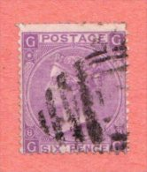 GB SC #51a U 1869 QUEEN VICTORIA PLT 8, CV $135.00 - Used Stamps
