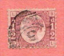 GB SC #58 U 1870 QUEEN VICTORIA PLT 8  W/TONED PERF @ B, CV $210.00 - Used Stamps