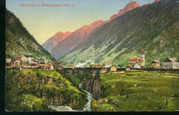 Litho Göschenen - Gotthardbahn Eisenbahn Zug Auf Brücke Dampflok 30.9.1925 - UR Uri
