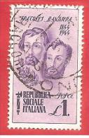 ITALIA REPUBBLICA SOCIALE - RSI - USATO - 1944 - Centenario Della Morte Dei Fratelli Bandiera -  £ 1 - S. 513 - 4. 1944-45 Social Republic