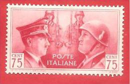 ITALIA REGNO - NUOVO MLH - 1941 - Fratellanza D'armi Italo-tedesca - Ritratti Mussolini E Hitler -  Cent. 0,75 - S. 456 - Ongebruikt