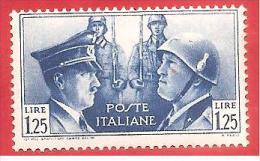 ITALIA REGNO - NUOVO MLH - 1941 - Fratellanza D´armi Italo-tedesca - Ritratti Mussolini E Hitler -  £ 1,25 - S. 457 - Ongebruikt