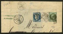 LOIRE: Fragment Avec 4c BORDEAUX +20c CERES Dentelé +1c Lauré Oblt GC 3581 + CàDate T 17 St ETIENNE - 1849-1876: Période Classique