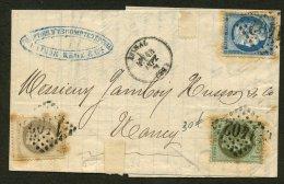 VOSGES: Pli Avec 20c CERES Dentelé +1c+4c EMPIRE Lauré Oblt GC 1402 + CàDate T 16 EPINAL > NANCY - Postmark Collection (Covers)