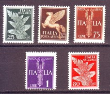 REGNO POSTA AEREA 1930-32    NUOVO* 5 VALORI - Poste Aérienne