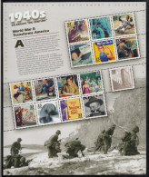 USA MNH Scott #3186 Sheet Of 15 Different 33c 1940s Celebrate The Century - Guerre Mondiale (Seconde)