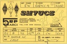 Amateur Radio QSL Card Sweden SM7UCZ Johnny Apell - Radio Amateur