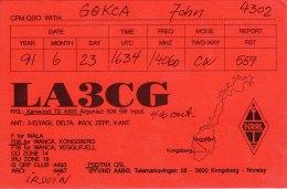 Amateur Radio QSL Card Norway LA3CG Kongsberg - Radio Amateur