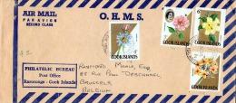 COOK ISLAND 1968, Wunderschöne 4 Fach Blumen Frankierung Auf LP-Brief, Gel.nach Brüssel - Cookinseln