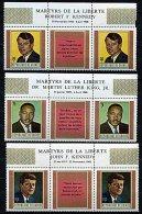 Rep. Guinée ** N° 370 à 372 Triptyque - Français - R. Kennedy, M. Luther King, J. Kennedy - Guinée (1958-...)