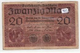 Billets - B912 -  Allemagne   - Billet 20 Mark 1920  ( Type, Nature, Valeur, état... Voir 2scans) - Zwischenscheine - Schatzanweisungen