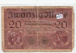 Billets - B913 -  Allemagne   - Billet 20 Mark 1920  ( Type, Nature, Valeur, état... Voir 2scans) - 1918-1933: Weimarer Republik