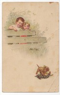 Vintage Original Postcard Dachshound Puppy  Playing Cpa Ak (W3_1903) - Honden