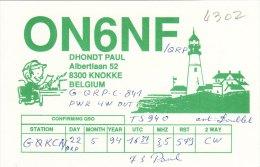 Amateur Radio QSL Card Belgium ON6NF Knokke Lighthouse - Radio Amateur