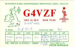 Amateur Radio QSL Card England G4VZF Brentwood Essex Womack - Radio Amateur