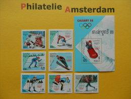 Cambodia 1988, OLYMPICS OLYMPIADE OLYMPIQUES / CALGARY: Mi 911-17, + Bl. 156, ** - Winter 1988: Calgary