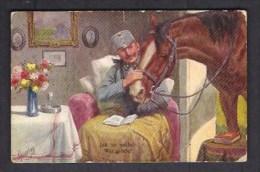 130817 / Illustrator KARLA FEIERTAG - 1916 JAK SE VEDE ? WIE GEHT'S ? SOLDIER BOOK HORSE VASE FLOWERS - B.K.W.I. 2.9 -80 - Feiertag, Karl
