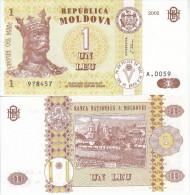 MOLDOVA MOLDAVIA BANCONOTA FDS UNC 1 LEU 2002 - Moldavia
