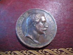 MEDAILLE NAPOLEON III EMPEREUR - 1867- CONCOURS GÉNÉRAL D´ANIMAUX DE BOUCHERIE -- GRAVÉE PAR BARRE - Royal / Of Nobility