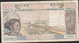 W.A.S. MALI Not Catalogued In UNC.! P407Dl 5000 FRANCS 1992 S.24  VF  4 P.h. - Mali