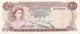 BILLETE DE BAHAMAS DE FIFTY CENTS DEL AÑO 1968  (BANKNOTE) RARO - Bahamas