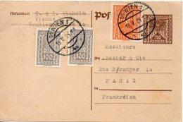 AUTRICHE ENTIER POSTAL POUR LA FRANCE 1925 - Ganzsachen
