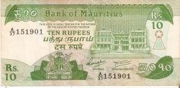 BILLETE DE MAURITIUS DE 10 RUPEES (BANKNOTE) - Mauricio
