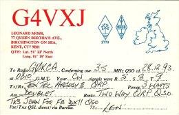 Amateur Radio QSL Card England G4VXJ Birchington On Sea Kent Len Moss - Radio Amateur