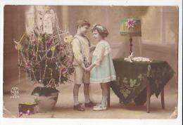 Vintage Original Postcard Children By Christmas Tree  Photo Cpa Ak (W3_1917) - Navidad