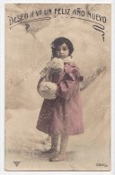 New Year Vintage Original Postcard Girl Out In The Snow Cpa Ak (W3_1926) - Año Nuevo