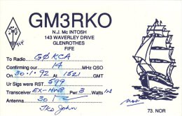 Amateur Radio QSL Card Scotland GM3RKO Glenrothes Fife Tall Sailing Ship Sail - Radio Amateur