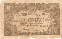 BILLETE DE PORTUGAL DE 10 CENTAVOS BRONZE DEL AÑO 1917  (BANKNOTE) MUY RARO - Portugal