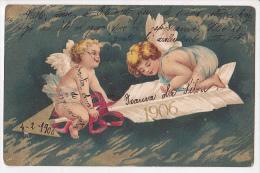 New Year 1906 Vintage Original Postcard Child Angels Cpa Ak (W3_1932) - Angeles