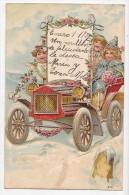 Angel & Children In A Flowered Car Colorfull Vintage Original Postcard Cpa Ak (W3_1942) - Angeles