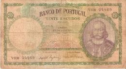 BILLETE DE PORTUGAL DE 20 ESCUDOS DEL AÑO 1959  (BANKNOTE) - Portugal