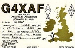 Amateur Radio QSL Card England G4XAF Langore Launceston Cornwall - Radio Amateur