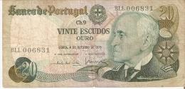 BILLETE DE PORTUGAL DE 20 ESCUDOS DEL AÑO 1978  (BANKNOTE) - Portugal