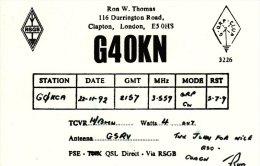 Amateur Radio QSL Card England G4OKN Clapton London Thomas - Radio Amateur