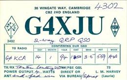 Amateur Radio QSL Card England G4XJU Cambridge - Radio Amateur